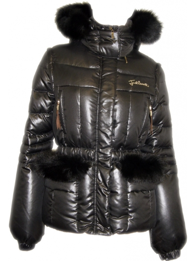 PATENT LEATHER JACKET WITH FUR HOODIE  AND POCKET FLAPS