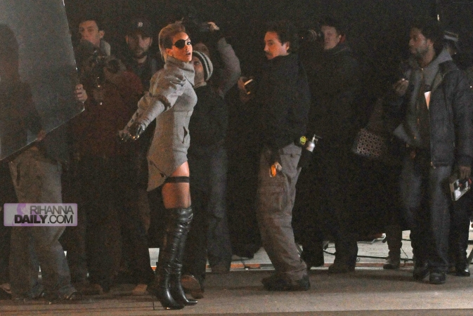 "RIHANNA ROCKING THIGH HIGH BOOTS ON SET OF NEW MUSIC VIDEO""RUSSIAN ROULETTE"""